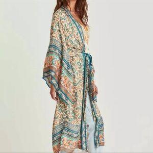 Heather Blue Whispy Print Kimono